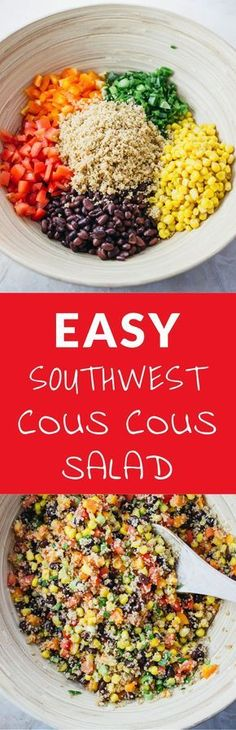 This savory southwest cous cous salad is super easy and fast to make with only 2 steps in the recipe. Its filled with delicious flavors such as tomatoes, scallions, cayenne, garlic, and lemon juice. This can be made ahead of time, and is a great party pl