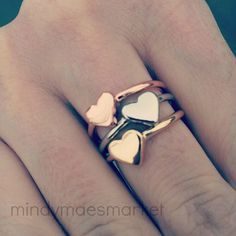 Love these Stackable Heart Ring 3 color choices by mindymaesmarket