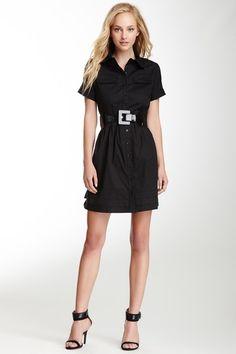 Belted Short Sleeve Shirt Dress by Vertigo on @HauteLook
