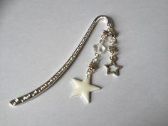 """Marque page en métal argenté """"Pluie d'étoiles blanche"""" : Marque-pages par alterperles"""