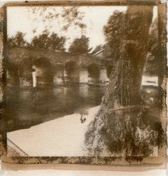 Three layer gum bichromate with WindsorNewton watercolor pigment paints. An old bridge, the river Dobra and a tree with child's swing hanged on. http://www.silaart.com/novigrad-on-dobra-river/