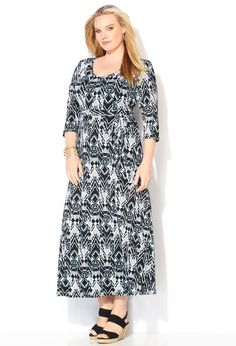 151f2bfafa3 ELB B W TL ABST SHLDR PAD Tribal Maxi Dresses