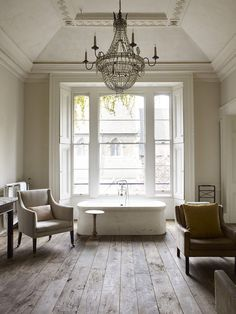 Interiors | Classic London Home bath lighting in bath floors chic european