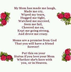 I Miss My Mom, I Love You Mom, Mom And Dad, My Love, Mom Poems, Mom Quotes, Best Quotes, Favorite Quotes, Family Quotes