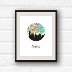Boston Strong - Boston map - Boston art - Boston, Massachusetts skyline print on Etsy, $10.00