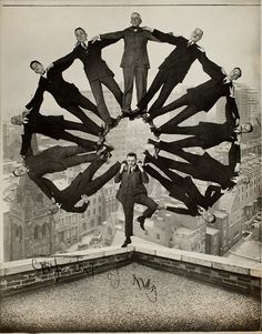 """Man on Rooftop with Eleven Men in Formation on His Shoulders (Unidentified American artist, ca. Image courtesy: The Metropolitan Museum of Art. """"Faking It: A Visual History of 150 Years of Image Manipulation Before Photoshop"""" Photoshop World, No Photoshop, Photoshop Photos, Photomontage, Vintage Photography, White Photography, Photoshop Photography, Classic Photography, Photography Tricks"""