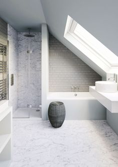 Small bathroom in need of clever tricks? - - Browse our small bathroom design ideas. Attic Shower, Small Attic Bathroom, Loft Bathroom, Bathroom Design Small, Bathroom Layout, Bathroom Mirrors, Loft Ensuite, Bathroom Faucets, Industrial Bathroom