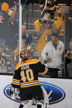 Flights to Boston for two: 3698$   Hotel for 5 nights: 600$  Loge seats for the game: 262$  Your son getting a stick from his favourite player: priceless!  Kiitos Tuukka!!