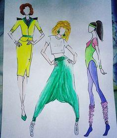 #style #stylist #fashion #design #designer #fashiondesign #fashiondesigner #illustration #fashionillustration #moda #womenswear #womensfashion #fashionista #inspiredby80s #80s #workerwoman #feminine #aerobic