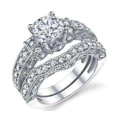Art Deco Vintage Design Wedding Ring Set Sizes 5-10. Starting at $1 on Tophatter.com!