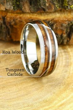 Mens wooden wedding rings Made out of genuine koa wood These wood
