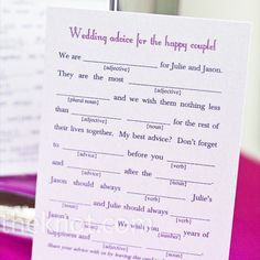 "Guests filled out fun Mad Lib cards about the happy couple when they came into the reception. ""They were a huge hit!"" says the bride."