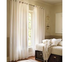 Linen Sheer Drape in Flax, Converts to Ring Top style also with ...