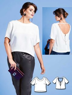 Open Back Blouse (Plus Size) 01 2016  131A. Plus Size Sewing PatternsBurda  ... c06e1a7aef3a