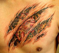 Steam Punk Heart - Biomechanical Tattoo - by All Wolff Rip Tattoo, Punk Tattoo, Tribal Back Tattoos, 3d Tattoos, Cool Tattoos, Tatoos, Skin Tear Tattoo, Ripped Skin Tattoo, Tattoos To Cover Scars