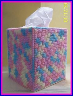 Pink Yellow Blue Handmade Plastic Canvas Tissue Box Cover Topper   eBay