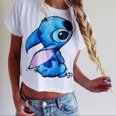 Lilo & Stitch Short Sleeve Printed Cute T-Shirt