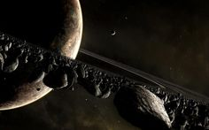 3840x2400 Wallpaper planet, space, ring, asteroids