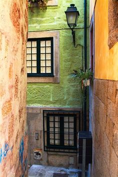 In the side streets of Porto city, Portugal Travel to Porto in Portugal to enjoy the architecture and beauty of the city. Porto Portugal, Portugal Travel, Magic Places, Places To Go, Places Around The World, Around The Worlds, Porto City, Douro Valley, Green Street
