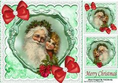 Vintage Santa with liitle girl on a plaque with lace 8x8 on Craftsuprint - Add To Basket!