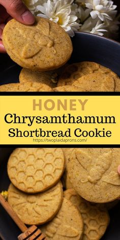 We all know Honey Cookies are delicious, but have you tried these Chrysanthemum Honey cookies!They are amazing and not to mention healthy for you. Well not the butter part haha. Bring these to your next gathering, or the next time you want to up your cookie game. This Honey cookie recipe is super easy to make and a great snack for you! | Two Plaid Aprons | #honey #chrysanthemum #cookies #recipe #teacookie