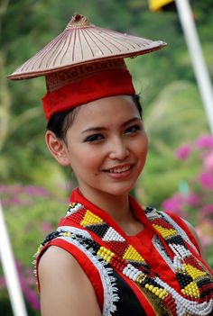 Bidayuh is the collective name for several indigenous groups found in southern Sarawak, Malaysia and northern West Kalimantan, Indonesia, on the island of Borneo, that are broadly similar in language and culture Traditional Fashion, Traditional Dresses, Asian Woman, Asian Girl, Pretty People, Beautiful People, Vietnam Costume, Laos, Indigenous Tribes