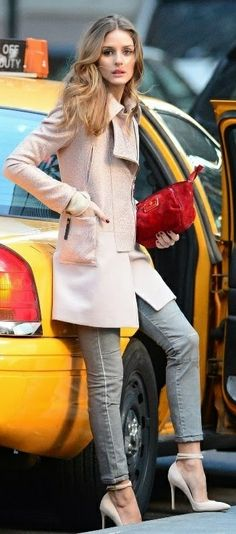 Street fashion for Fall..Pastel Pink Coat & Grey Jeans <3 Olivia Palermo street style