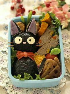Jiji, Kiki's Delivery Service, Studio Ghibli, onigiri, rice balls, bento, boxed lunch; Anime Food