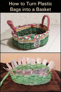 How to Turn Plastic Bags into a Basket Upcycle shopping bags at home into a functional item. Use Of Plastic, Plastic Bags, Reuse, Upcycle, Basket Crafts, Eco Friendly Bags, Recycling Ideas, Shopping Bags, Craft Projects