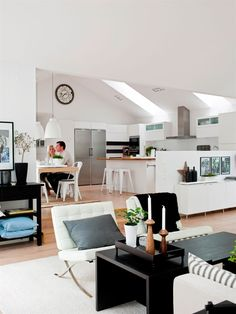 open plan house and bright clean white kitchen with skylight