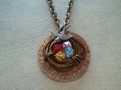 Family Birthstones bird nest necklace from www.facebook.com/treasuredtrinkets