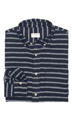 Slim-Fit Stripe Linen Shirt - Club Monaco Slim Fit  - Club Monaco