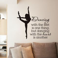 Elegant Ballet Dancer Wall Stickers For Dancer School Girls Bedroom Decor Quotes Dancing Wall Decal Living Room Decorative ZA365
