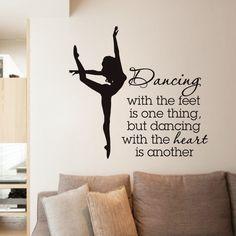 Elegant Ballet Dancer Wall Stickers For Dancer School Girls Bedroom Decor Quotes Dancing Wall Decal Living Room Decorative ZA365