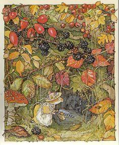 1980 Jill Barklem (British writer/illustrator, ~ Brambly Hedge series Inspiration for an artwork? Art And Illustration, Book Illustrations, Brambly Hedge, Marjolein Bastin, Motifs Animal, Alphonse Mucha, All Nature, Beatrix Potter, Hedges