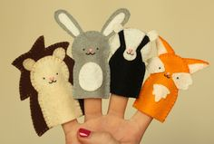 Cute little finger puppet template and tutorial. Ideal for woodland themed parties and gifts.