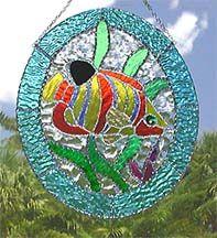 Yellow & Orange Tropical Fish  Stained Glass Suncatcher  - www.AccentOnGlass.com