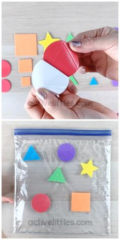 Easy, simple and fun DIY sensory bag for toddlers, preschool and for kids. Here is a fun Early learning Sensory activity that incorporate shapes and colors while receiving the benefits of sensory play! Infant Sensory Activities, Baby Sensory Toys, Early Learning Activities, Motor Skills Activities, Autism Activities, Play Based Learning, Montessori Activities, Activities For Kids, Kids Daycare