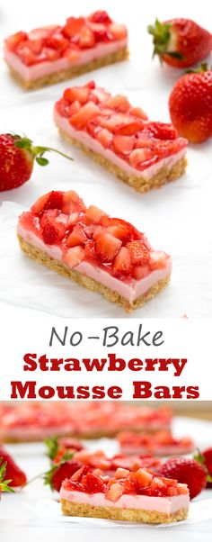 Strawberry Mousse Bars - no bake bars with fresh strawberries! These little bars are the perfect reminder that summer is on it's way! Mousse Dessert, Oreo Dessert, Dessert Bars, Dessert Ideas, Real Food Recipes, Yummy Food, Yummy Recipes, Strawberry Mousse, Baked Strawberries