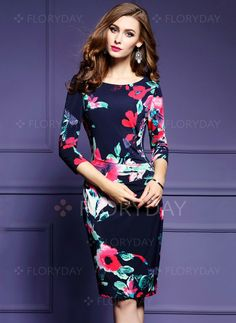 Dresses - $50.63 - Polyester Floral Half Sleeve Knee-Length Casual Dresses (1955206589)
