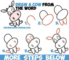 How to Draw a Cute Cartoon Kawaii / Chibi Cow Word Toon Easy Step by Step Drawing Tutorial for Kids (Drawing Step Cartoon) Drawing Tutorials For Kids, Easy Drawings For Kids, Drawing For Kids, Drawing Ideas, Cow Drawing Easy, Word Drawings, Cute Drawings, Animal Drawings, Hipster Drawings