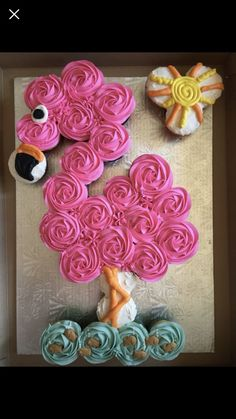 This cup cake i ordered for my cousin birthday Pull Apart Cupcake Cake, Pull Apart Cake, Cupcake Cakes, Flamingo Cupcakes, Birthday Cupcakes, Birthday Parties, Luau Cupcakes, Birthday Ideas, Cousin Birthday