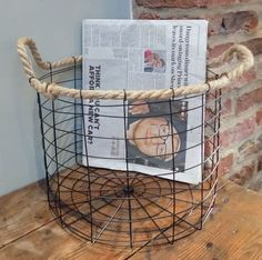 Camden large wire storage basket with rope handles