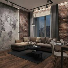 70 DIY Rustic Decor Ideas Let's opt. something different yet adorable for your house in the form of this rustic decor design. The lovely decoration is made here with world map designing on the wall. Living Room Interior, Living Room Decor, Living Rooms, Decor Interior Design, Interior Decorating, Stone Interior, Design Loft, Modern Design, Rustic Loft