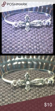 """Spotted while shopping on Poshmark: Cross Bangle w/ Crystal Accent 2.25"""" Diameter! #poshmark #fashion #shopping #style #Jewelry"""