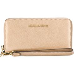 Michael Michael Kors Jet Set Travel Wallet (1.505 UYU) ❤ liked on Polyvore featuring bags, wallets, gold, beige bag, genuine leather bag, leather travel wallet, real leather bags and michael michael kors bags