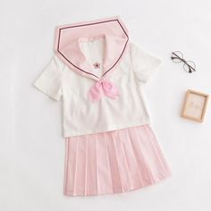 A kawaii spring, sakura themed school uniform in pastel pink. Perfect for super girly and cute outfits in the summer. Comes with top, necktie and skirt. Sailor Outfits, Cute Outfits, Top Cosplay, Japanese School Uniform, Kawaii Cosplay, Japanese Outfits, Pastel Pink, Cute Fashion, 1 Piece