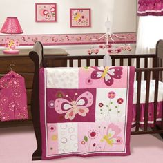 Bedtime Originals by Lambs & Ivy - Pink Butterfly 3-Piece Crib Bedding Set, Purple