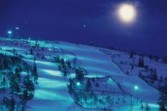 Night skiing at Salla Ski Resort in eastern Lapland, Finland