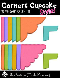 Corners clip art ~~ CUPCAKE STYLE ~~ These graphics are perfect for Teachers Pay Teachers products, classroom organization, and scrapbook designers. Commercial and personal use is ok. TeacherKarma.com